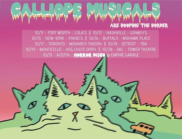 🚦Ahhhhhhh‼️ LESS than a month til we're back on the road 🚐💨🛣We gonna boop the border! We are sooooo excited we can hardly contain it 😻✨ Tag a friend who needs to come PaRtYyy 🌀🌀🌀POSTER ART BY @georgiaparkermusic 🎨 . . . . . #CalliopeMusicals #Austin #ATX #Livemusic #ColorSweat #Texas #AustinMusic #ATXMusic #Music #PsychPop #IndieRock #IndiePop #BoopTheBorderTour  #Concert #FortWorth #LolasTrailerPark #Nashville #Grimeys #NewYork #PianosNYC #Buffalo #MohawkPlace #Toronto #MonarchTavern #Detroit #Monticello #HogChuteOpry #OKC #OklahomaCity #TowerTheatre