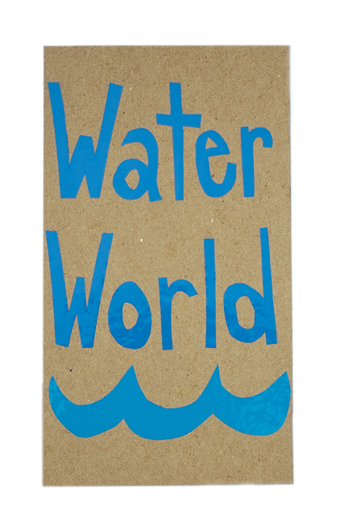 Jane O'Neill , Study for Water World, 2014 adhesive vinyl, cardboard.