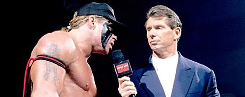 "Ultimate Warrior and Vince McMahon practice the art of ""Barely Maintained Mutual Tolerance,"" circa 1996."