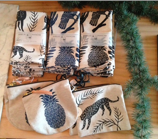Printed Fabric Pouches and Napkins by Amelie Mancini