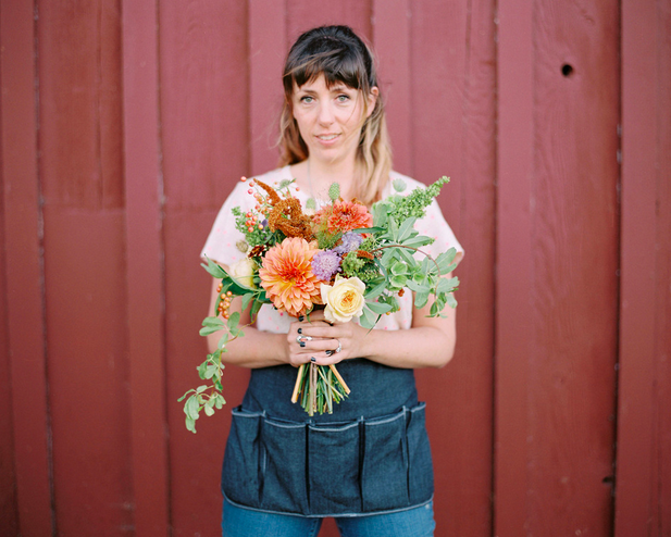 Kelli Galloway at floral class in Seattle, on the day she decided to become a florist.  Photograph:  Dart Photographie