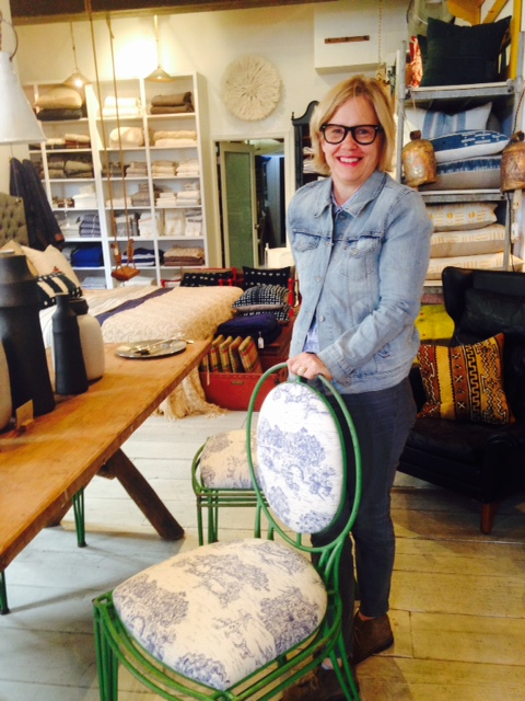 At Nickey Kehoe, the best store in L.A., with toile dining chair.