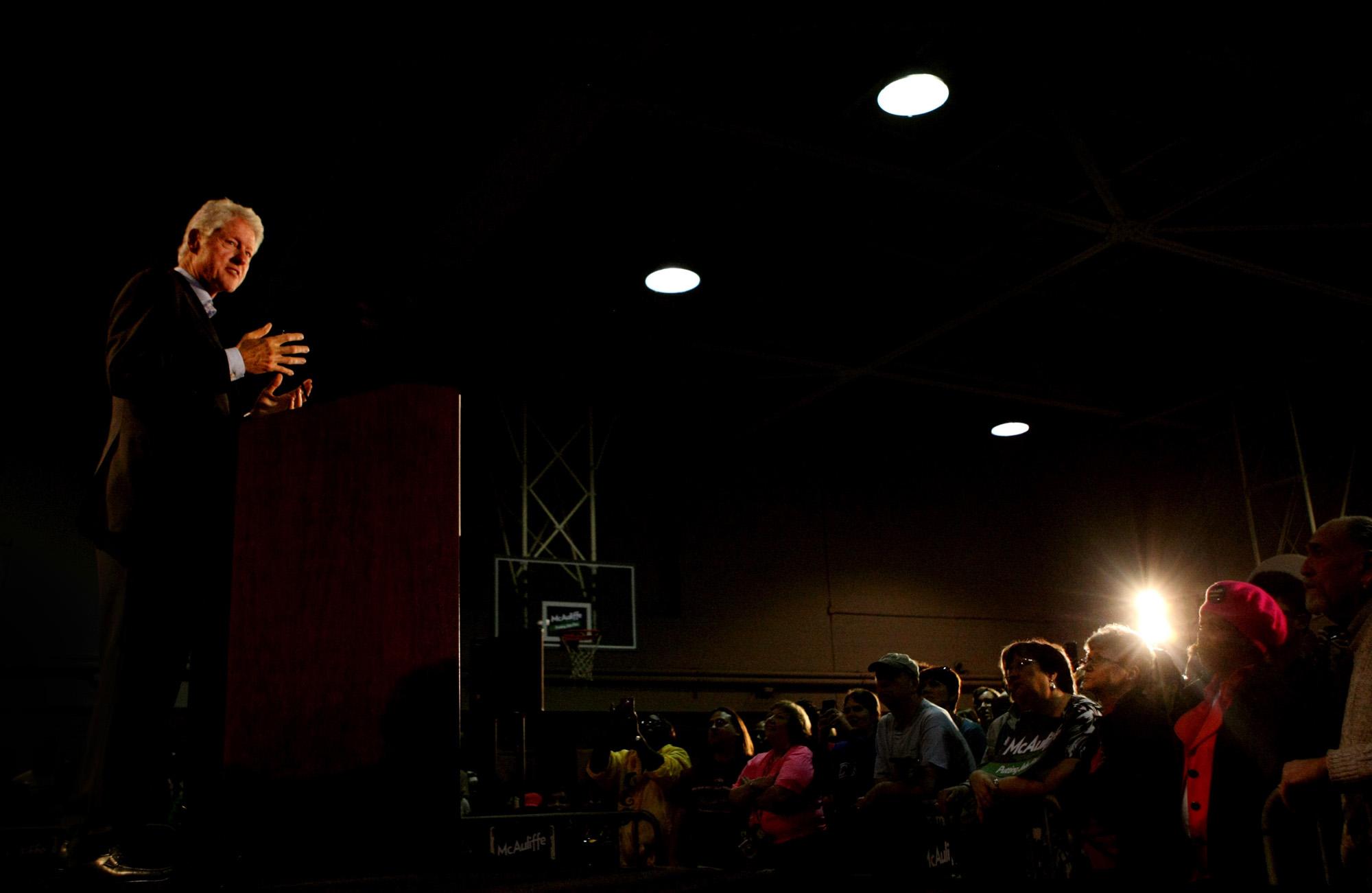 Presdient Bill Clinton stumps on behalf of current president Barack Obama.