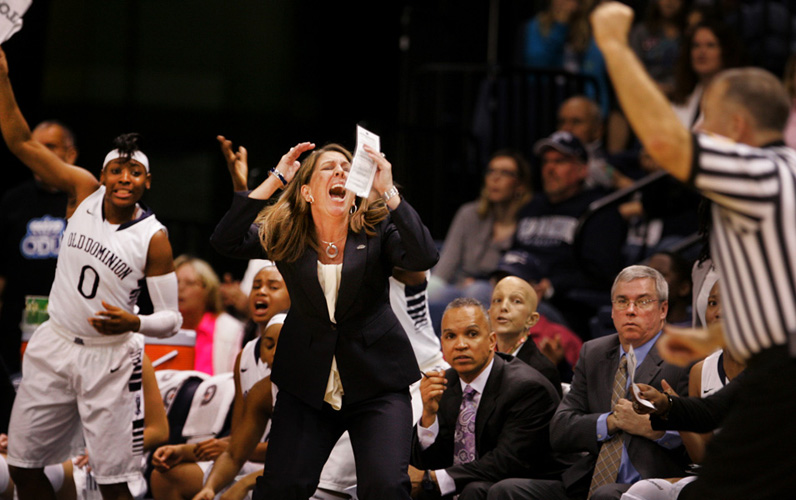 ODU Lady Monarchs head basketball coach, Karen Barefoot, reacts to an officials call late in the second half of their 63-46 loss at the Constant Center in Norfolk