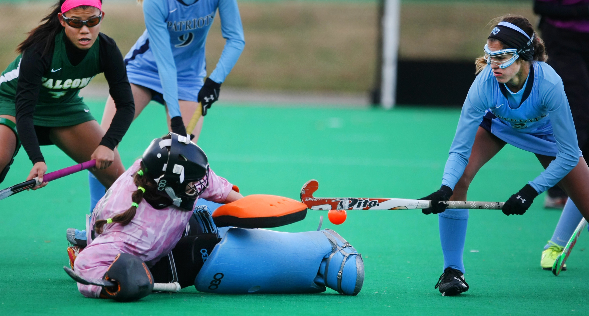 Cox goalkeeper Suzie Pileckas stops a shot by First Colonial's Izzy Fontana, right, during second half action of Cox's 1-0 win to claim their 18th State title, Saturday, Nov. 16, 2014 at the National Training Center in Virginia Beach.     (Jason Hirschfeld | For The Virginian-Pilot)