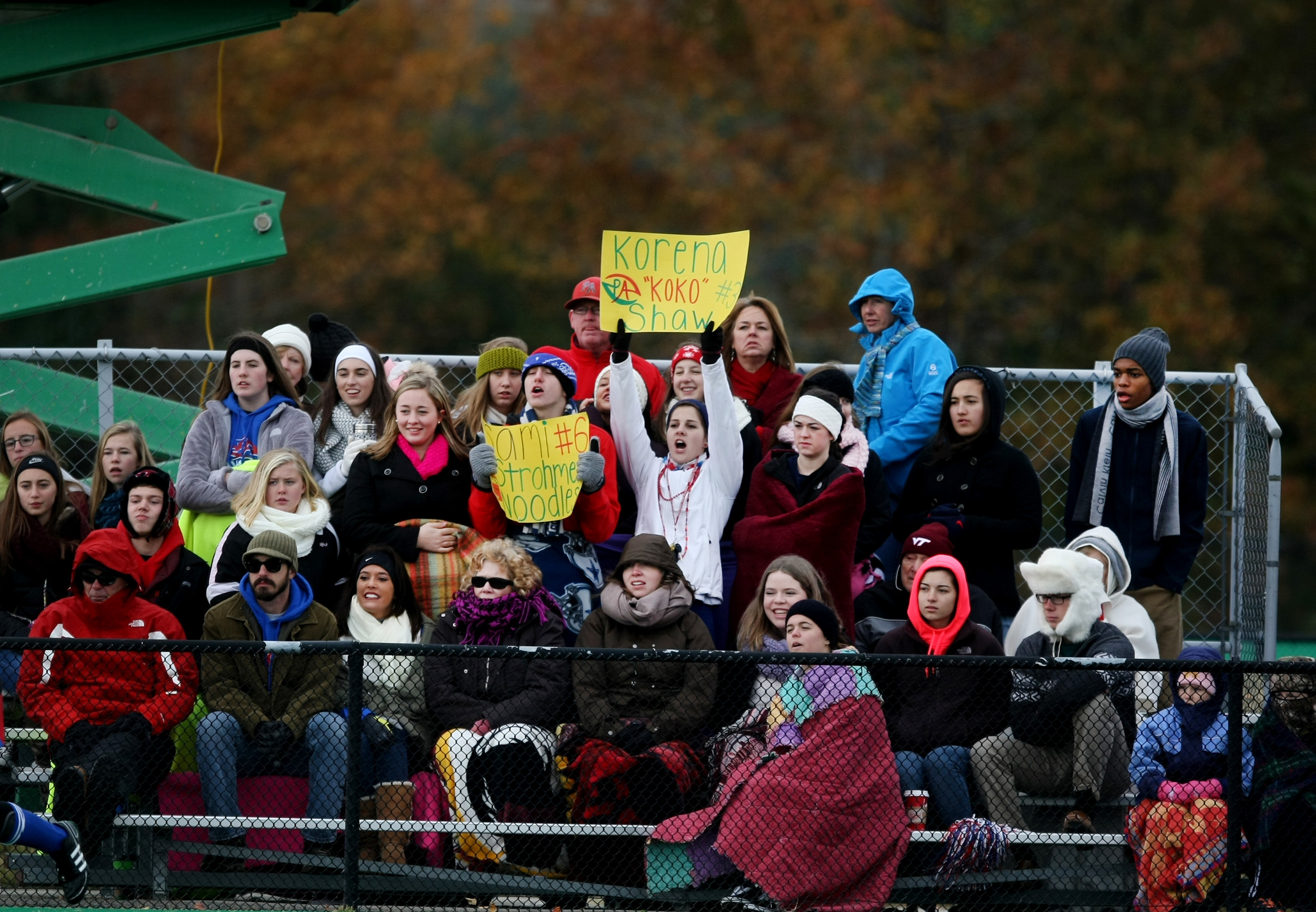 Fans cheer on the Princess Anne Cavaliers in the closing minutes of their 2-1 win over Mountain View to claim the State title, Saturday, Nov. 16, 2014 at the National Training Center in Virginia Beach.  (Jason Hirschfeld | For The Virginian-Pilot)