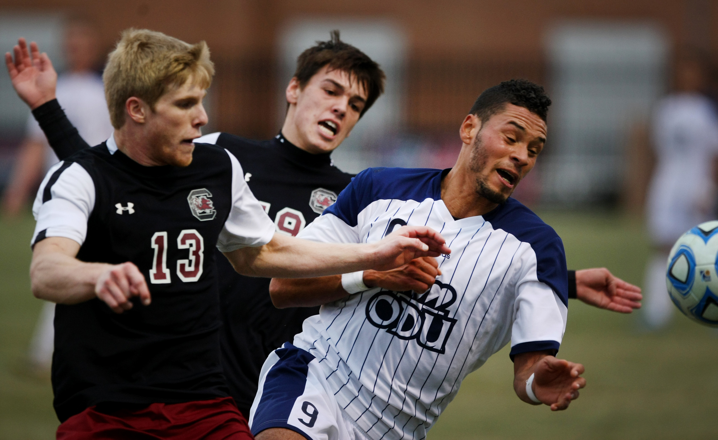 ODU's Sidney Rivera, right, battles a for a loose ball against University of South Carolina's Braeden Troyer in the second half of ODU's 2-1 win over University of South Carolina to claim the Conference USA Men's Soccer Final, Sunday, Nov. 16, 2014 at ODU in Norfolk.
