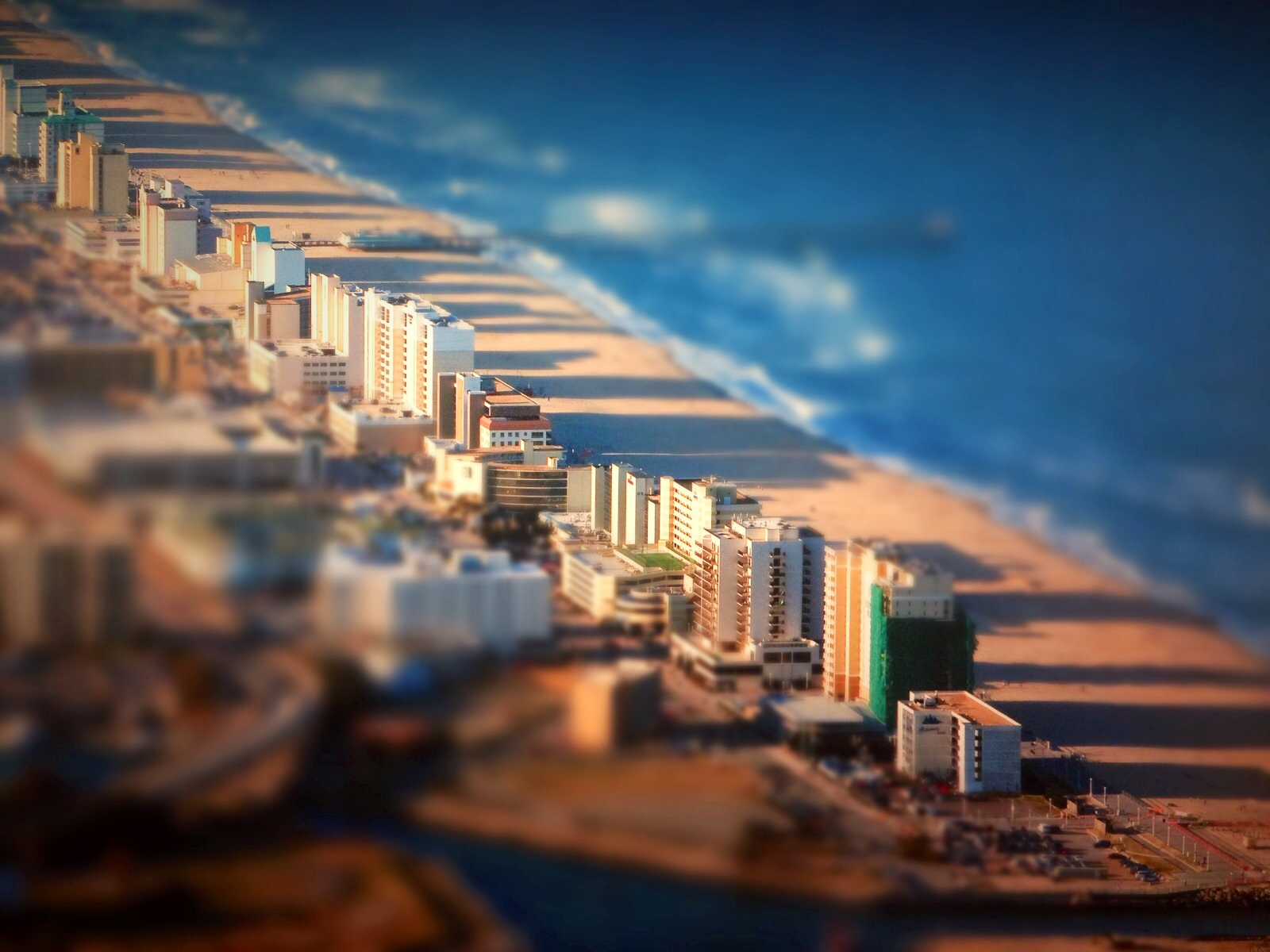 The Virginia Beach resort strip is pictured using the Tilt/Shift Gen App for the iPhone.