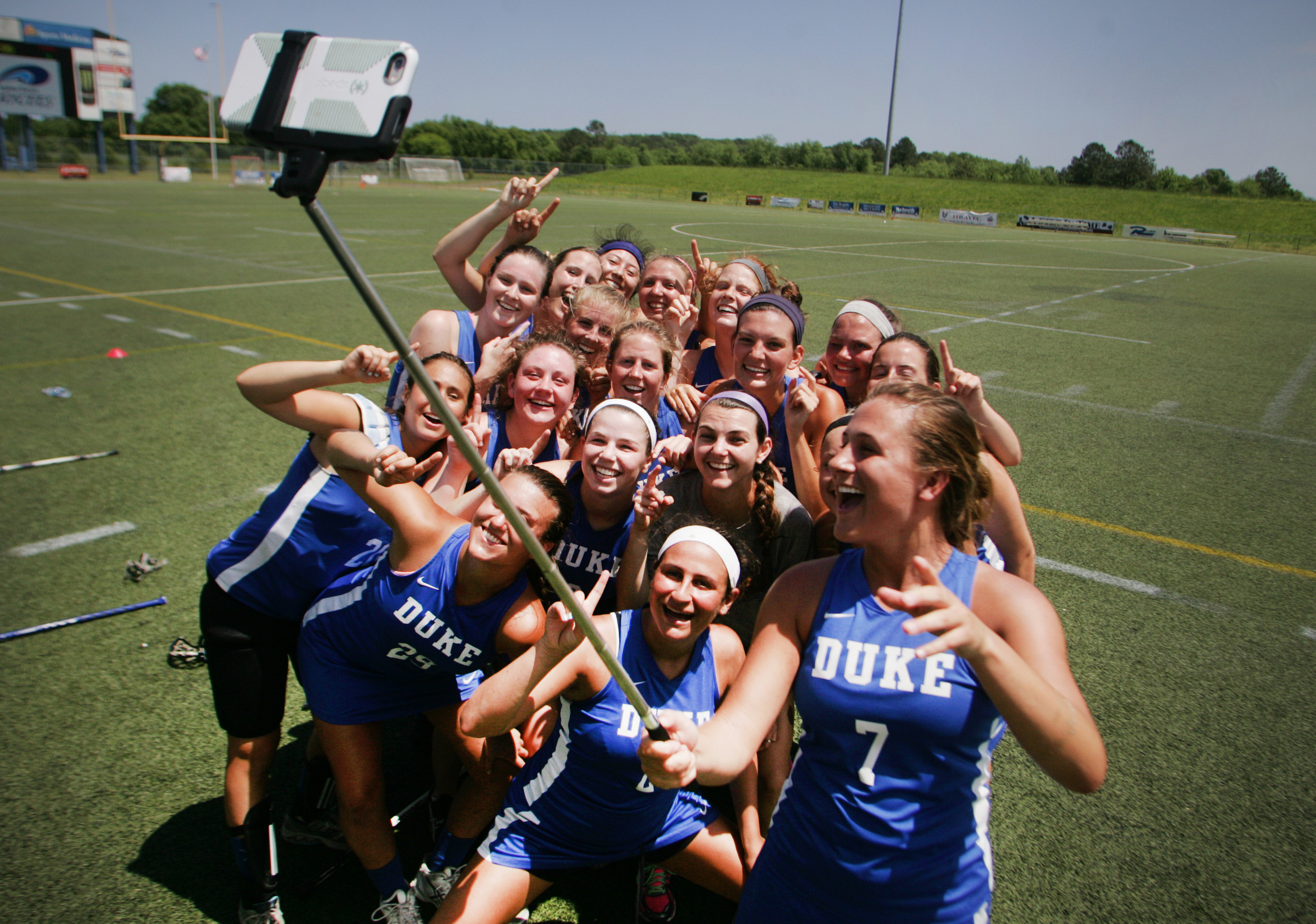 Duke's Abby Ranier (7) takes a team selfie after beating Utah 11-3 to win the National Lacrosse championship, Saturday, May 9, 2015 at the Sportsplex in Virginia Beach.