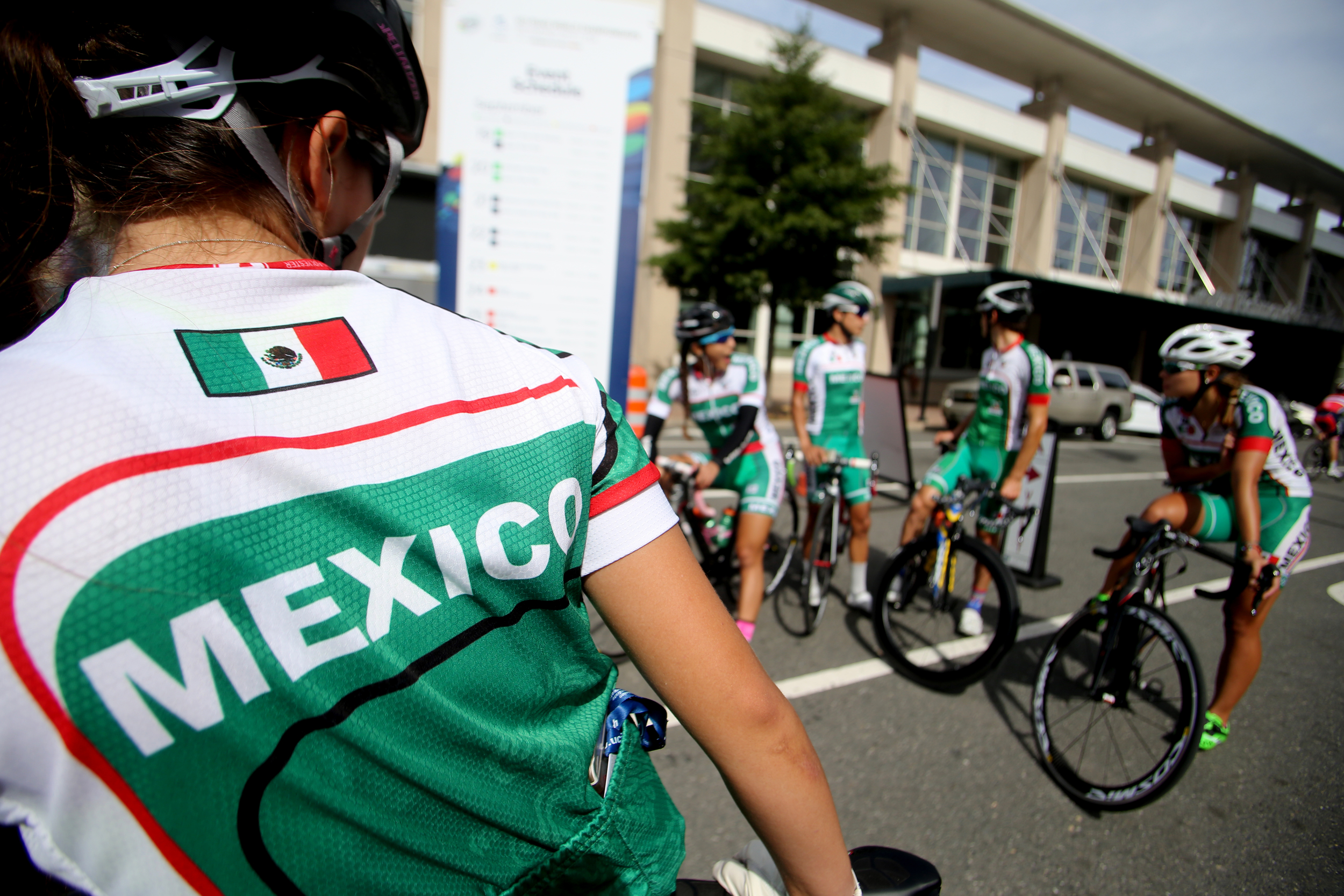 Members of the Mexican cycling team prepare to head out for the Road Circuit Training portion of the UCI Road World Championships cycling races in Richmond, Va., Thursday, Sept. 24, 2015.(AP Photo/Jason Hirschfeld)