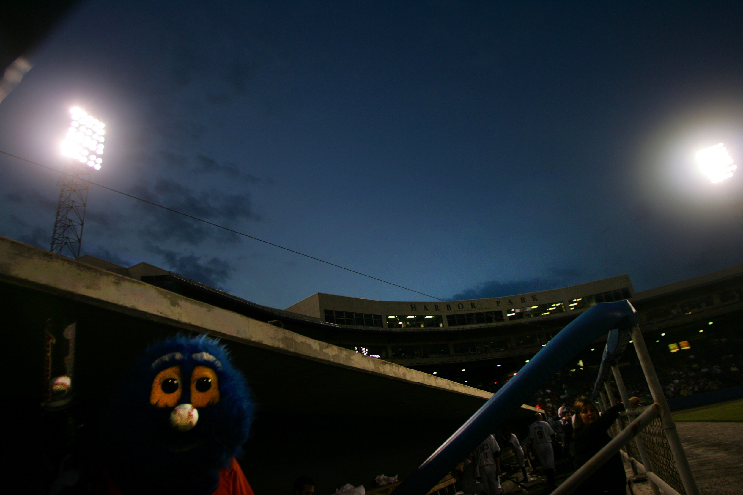 Rip Tide, mascot for the Triple-A  Norfolk Tides , stands in the dugout before taking the field to entertain the crowd in a game against Rochester.