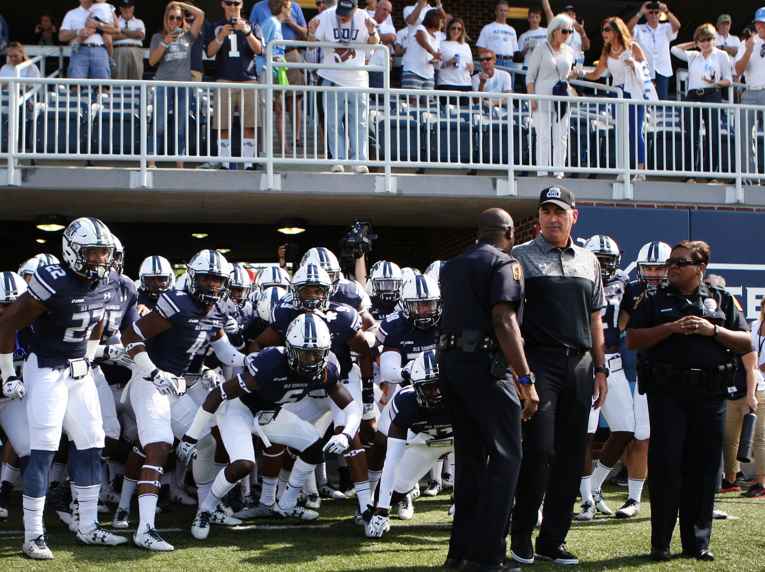 Old DOminion head coach Bobby Wilder and the 2016 Monarchs prepare to take the field for their season opener, Sunday, Sept. 4, 2016 at ODU in Norfolk.   (Jason Hirschfeld | The Virginian-Pilot)