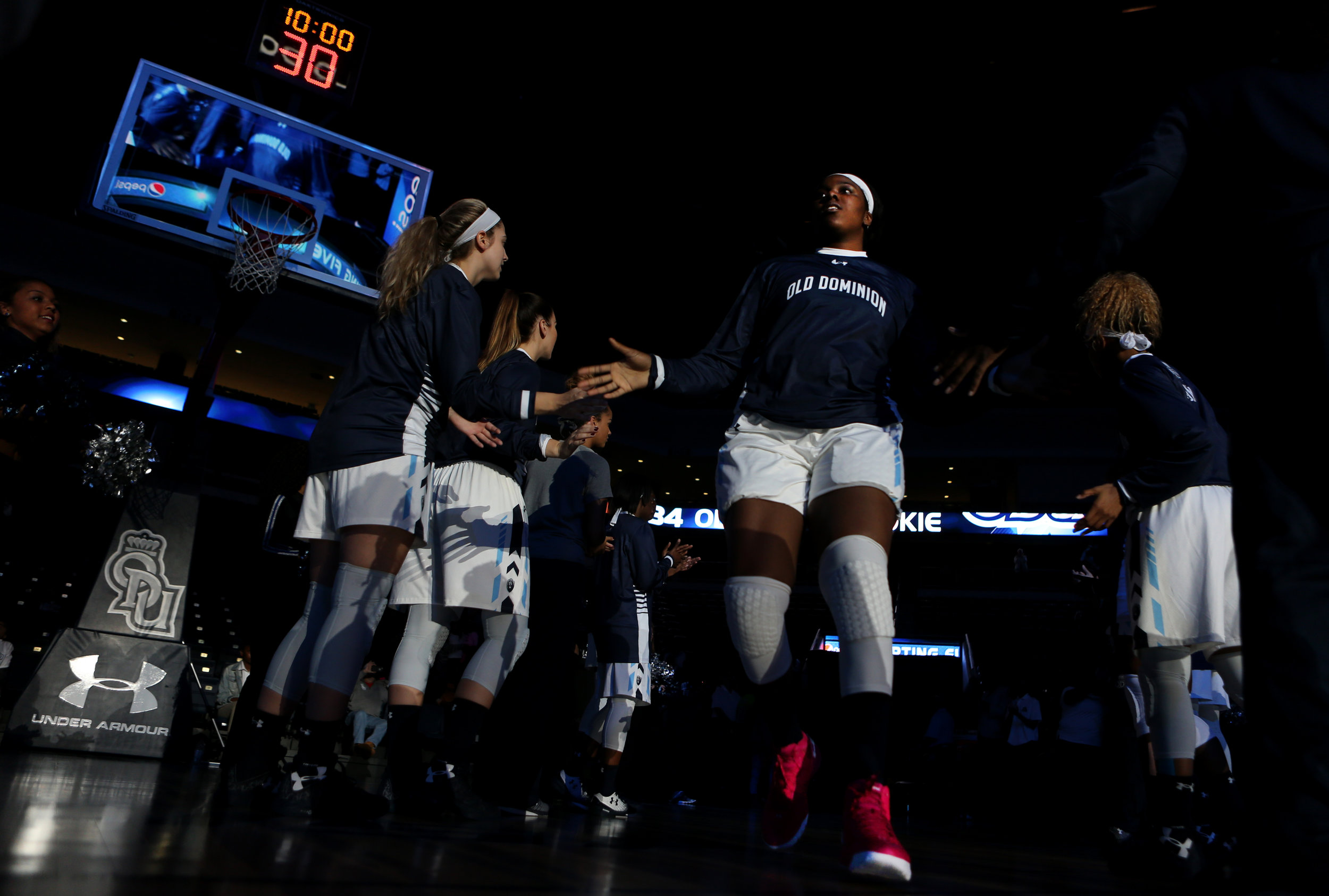 Old Dominion's Odegua Oigbokie is introduced before the start of the Lady Monarchs' game against Norfolk State at the Constant Center in Norfolk.
