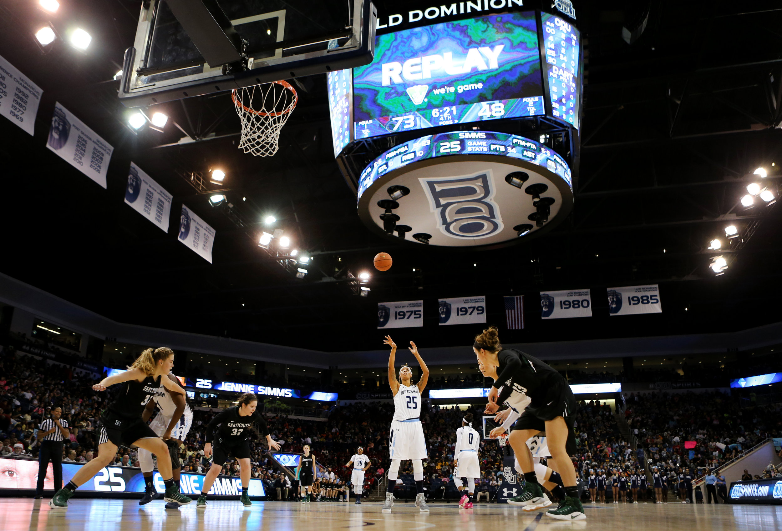 Old Dominion's Jennie Simms shoots a pair of free throws for two of her game-high 35 points in ODU's 82-56 rout, Wednesday, Nov. 30, 2016 at the Constant Center in Norfolk.
