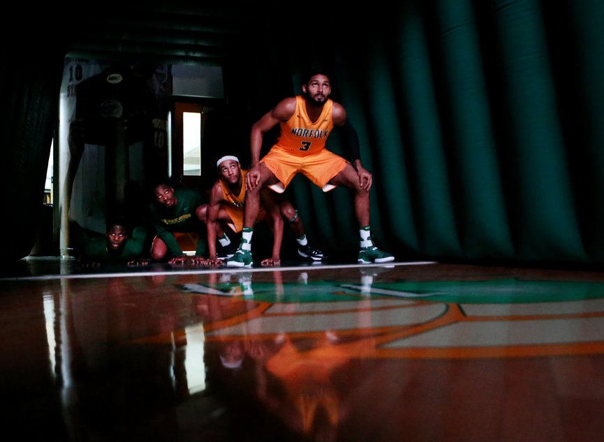The Norfolk State University men's basketball team waits in the tunnel to be introduced prior to the start of their home opener against Shenandoah.