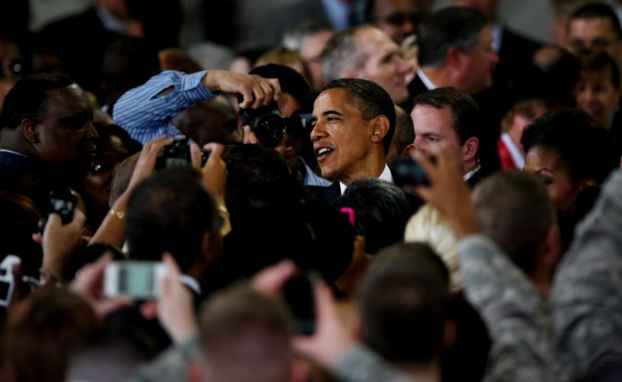 President Barack Obama greets supporters after a campaign event in Springfield, Illinois.