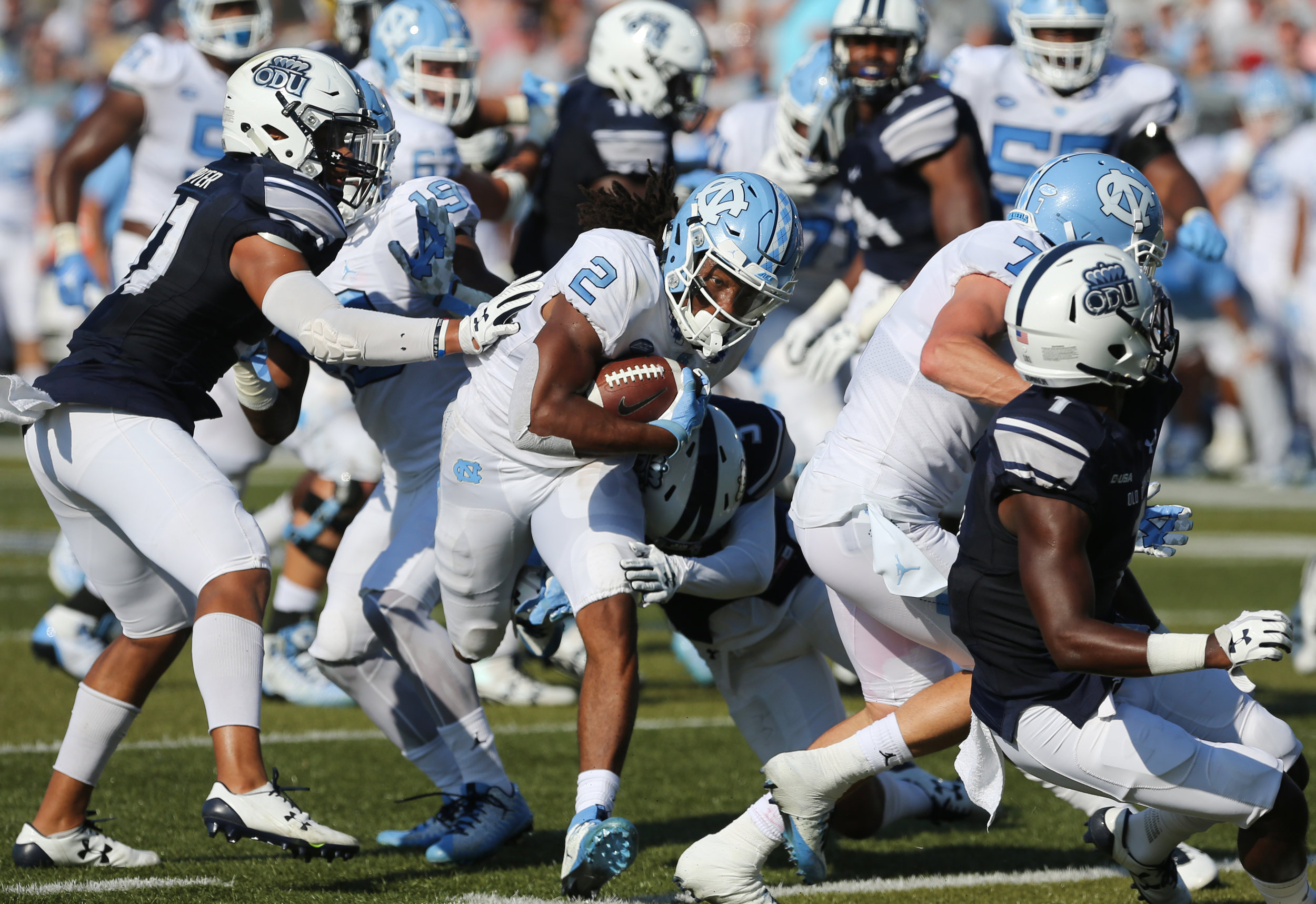 UNC's Jordan Brown (2) runs for a first down against the Old Dominion defense in the second half of an NCAA college football game, Saturday, Sept. 16, 2017 in Norfolk, Va.
