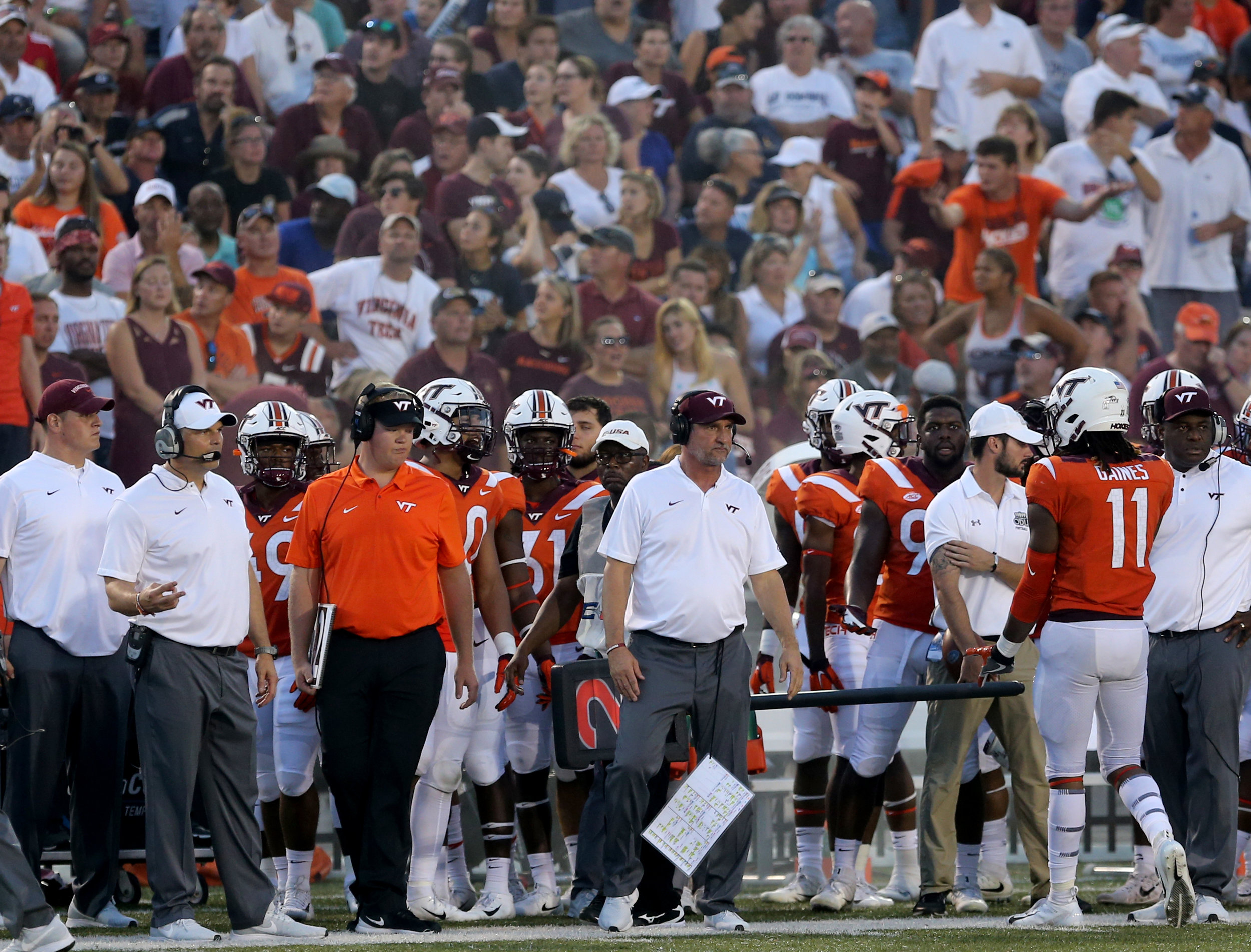 Virginia Tech defensive coordinator Bud Foster looks on in a game against Old Dominion during the second half of an NCAA college football game Saturday, Sept. 22, 2018, in Norfolk, Va. Old Dominion won 49-35. (AP Photo/Jason Hirschfeld)