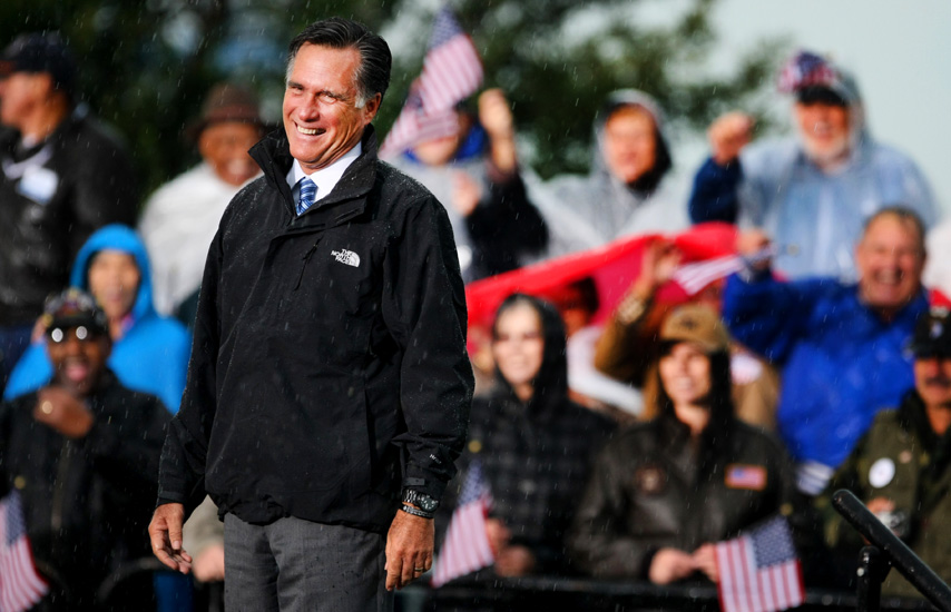 Presidential candidate Mitt Romney reacts to the crowd during a campaign stop, Monday, Oct. 8, 2012 in Newport News, Va. (AP Photo/Jason Hirschfeld)
