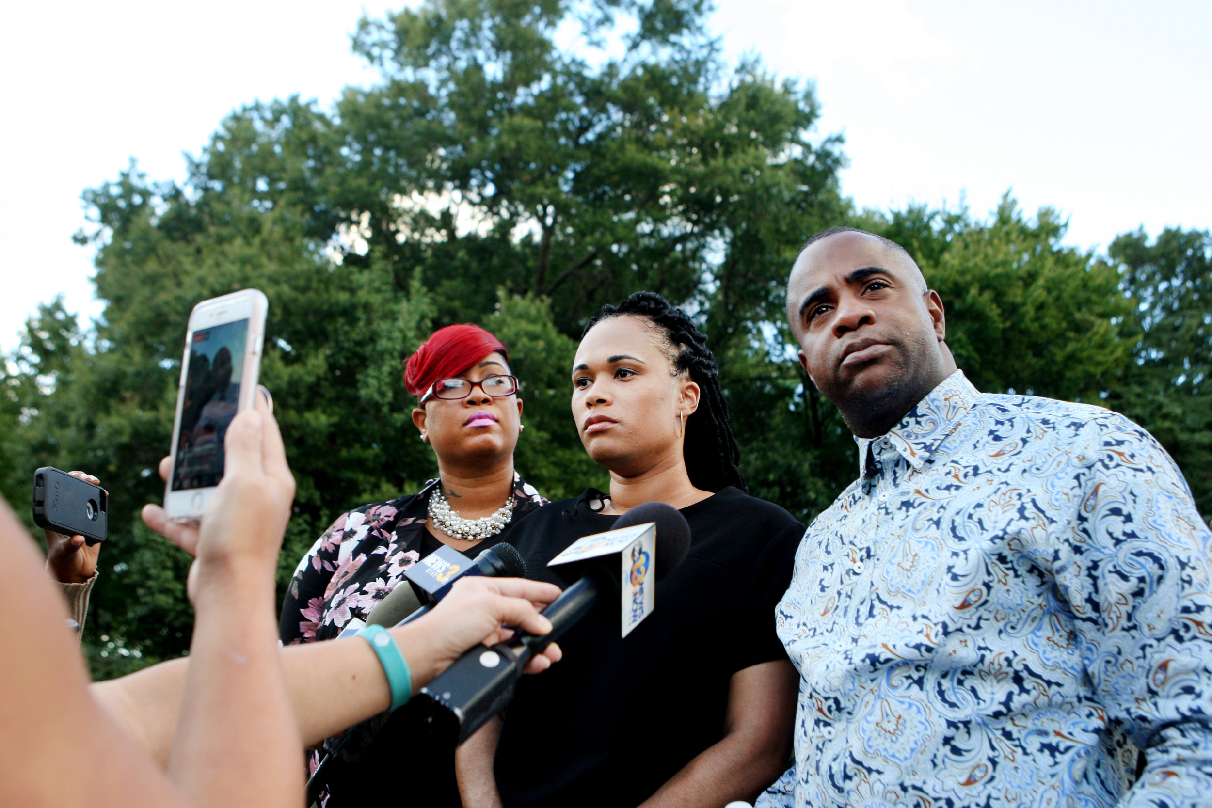 The family of Ashanti Billie, including family spokeswoman Kimberly Wimbish, left, address the media in Virginia Beach.