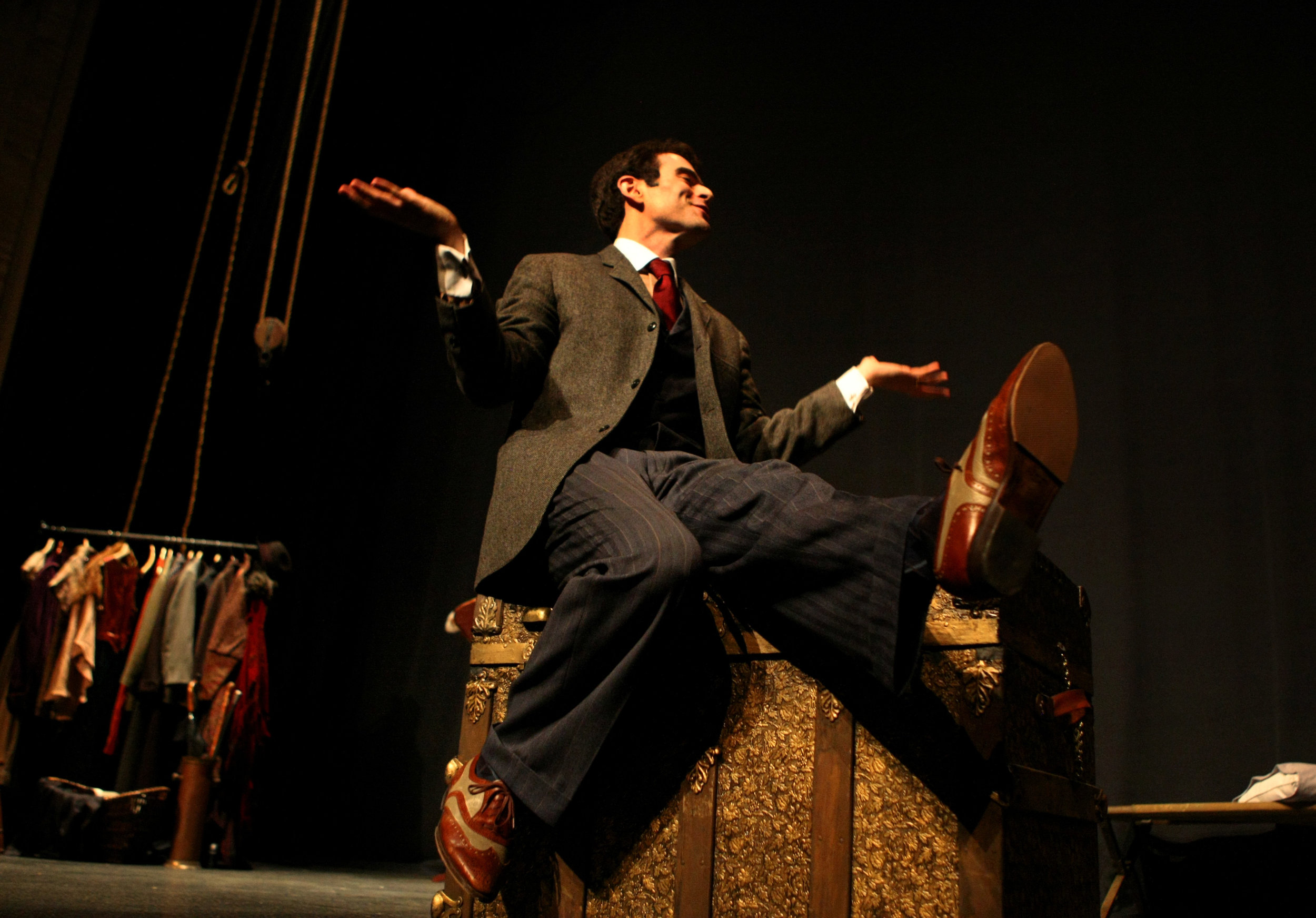 Sid Solomon, an actor in the Virginia Stage Company's upcoming play 'The Woman In Black', performs during a dress rehearsal at the Wells Theatre in Norfolk.