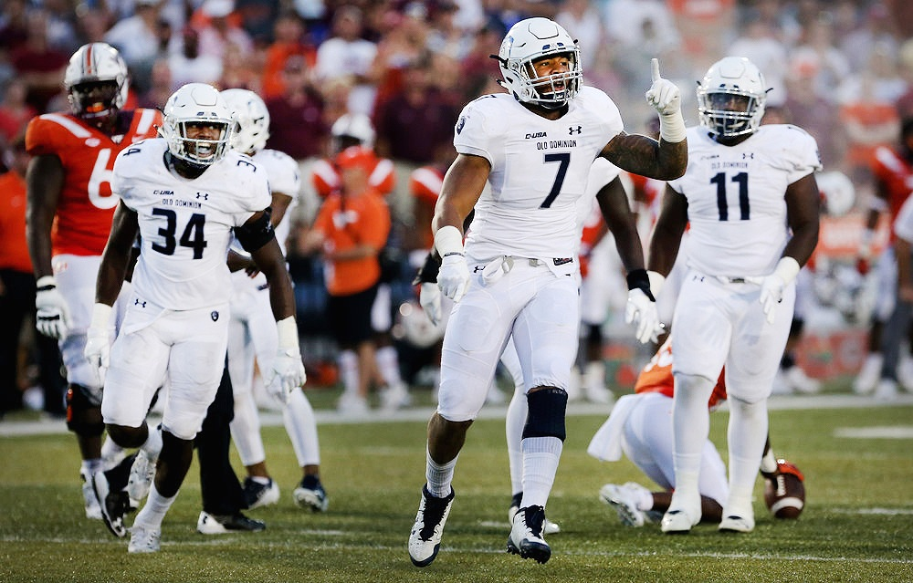 ODU's Oshane Ximines reacts after a first down during the second half of the Monarchs' improbable 45-39 win over Virginia Tech.