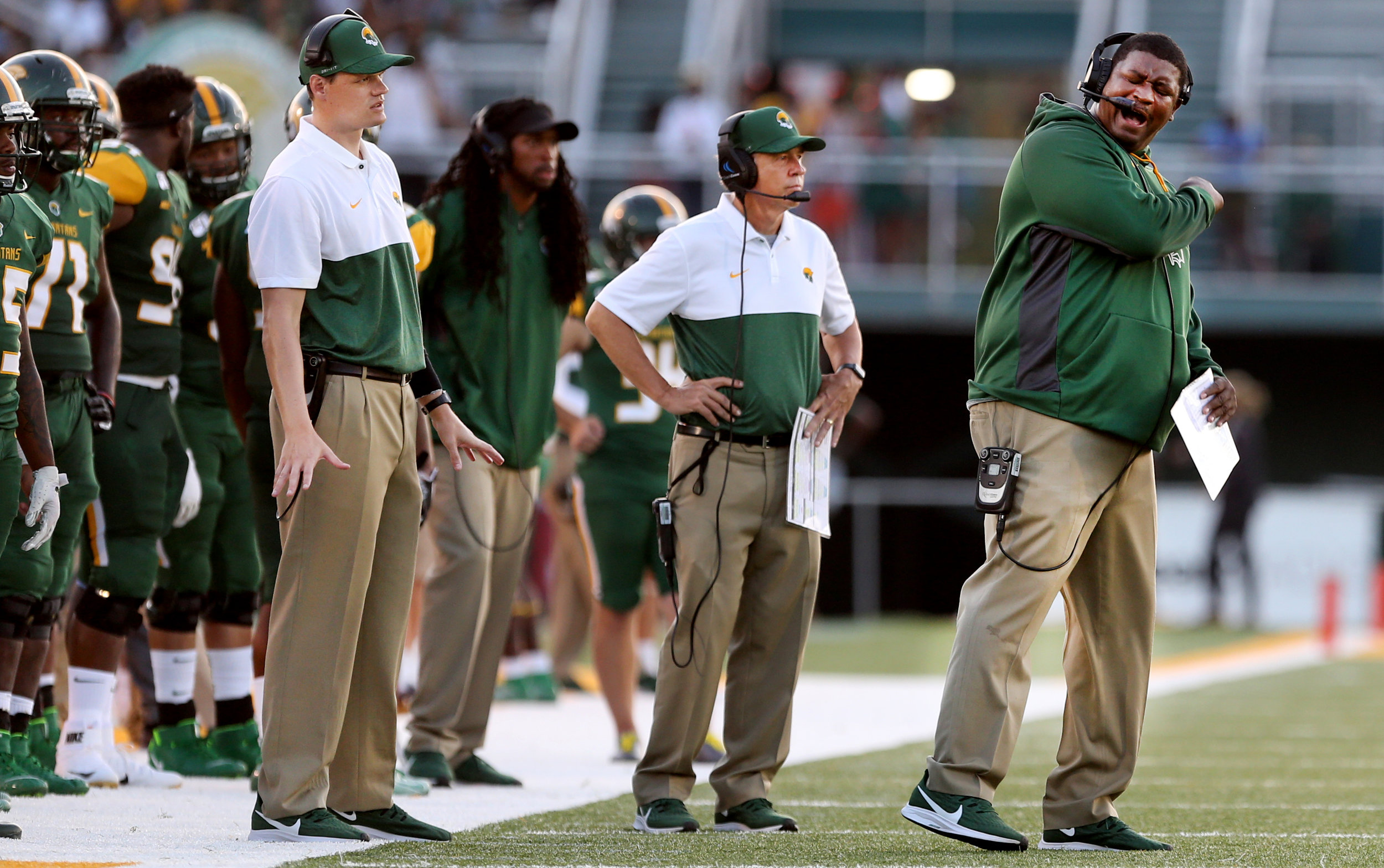 Norfolk State head coach Latrell Scott, right, reacts to an officials call in a game against Virginia State, Saturday, September 7, 2019 at Dick Price Stadium in Norfolk.