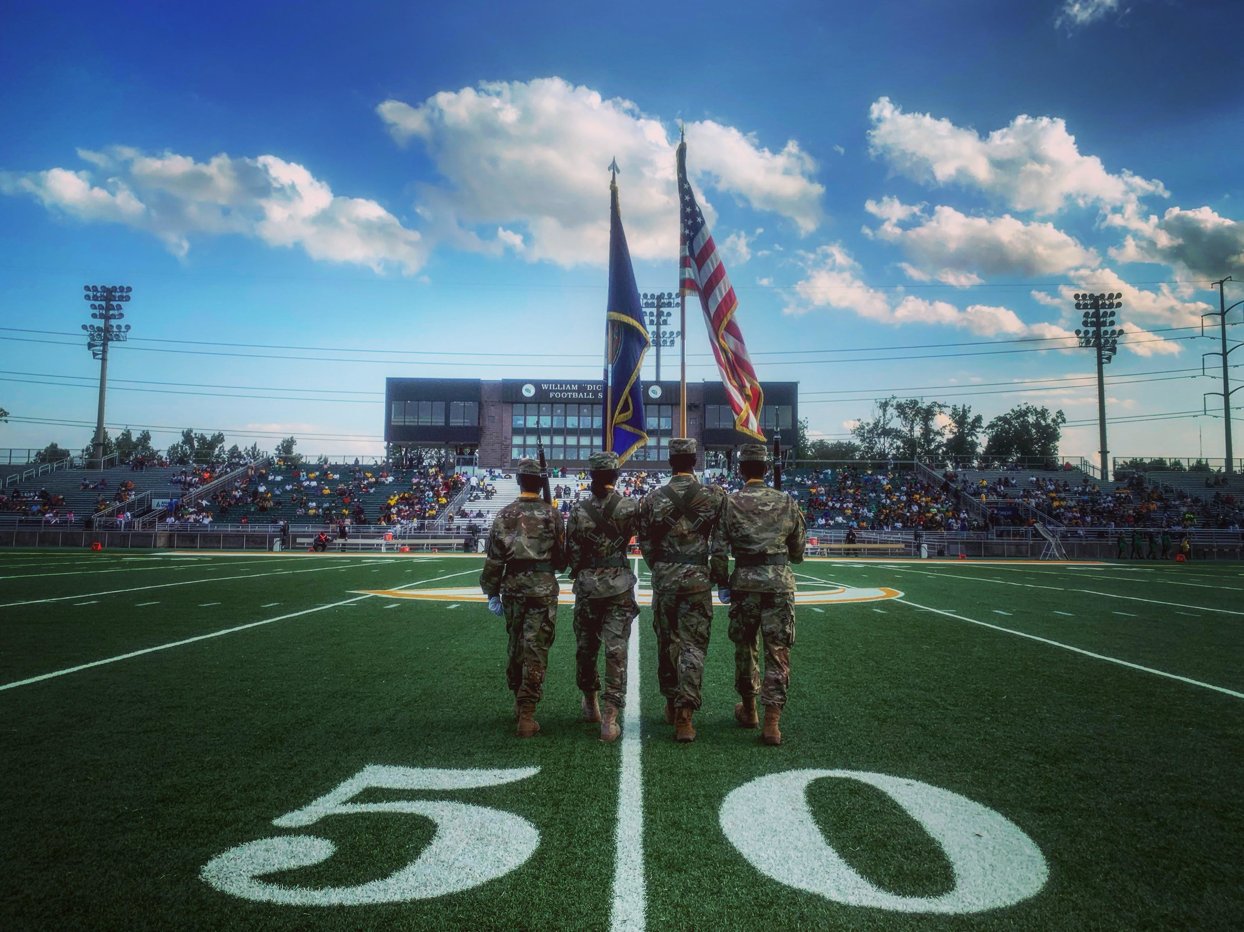 The color guard walks onto the field for the National Anthem before the start of the game against Norfolk State and Virginia Union, Saturday, September 7, 2019 at Dick Price Stadium in Norfolk.