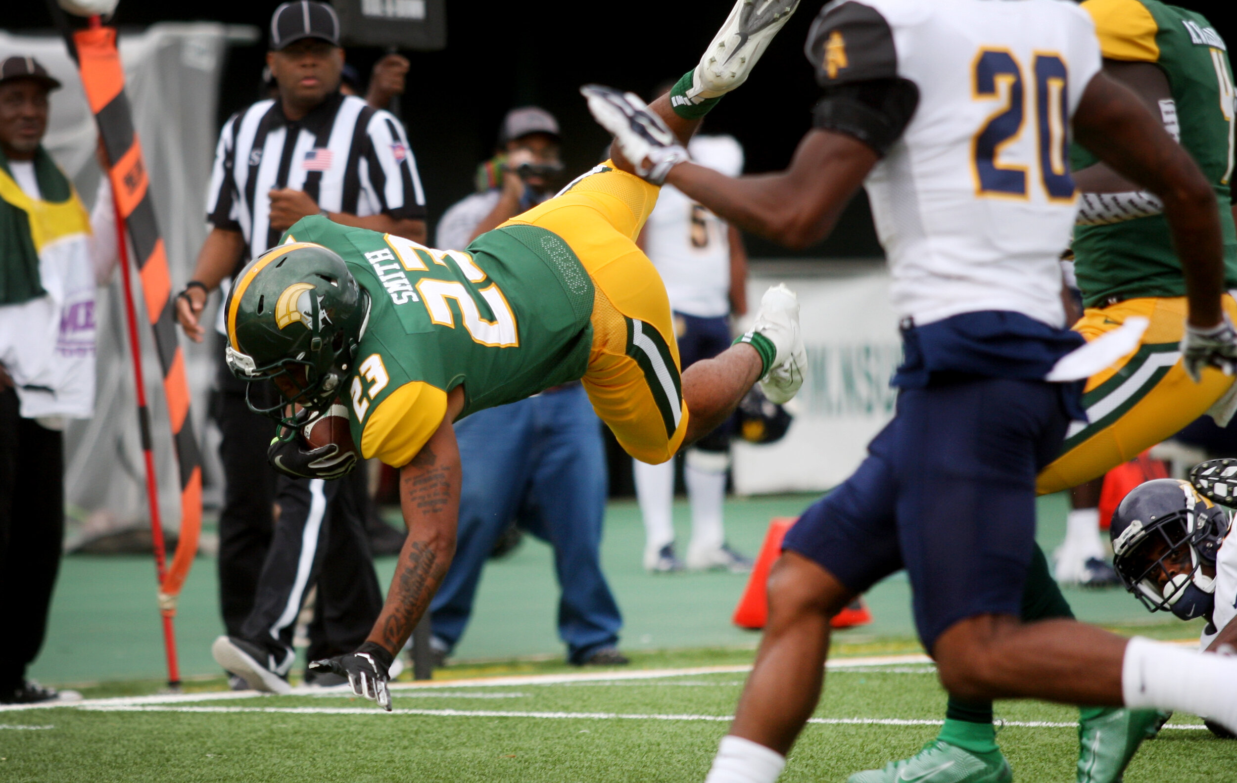 Norfolk State freshman running back Rayquan Smith takes his first collegiate carry 62-yards during the Spartans' 58-19 loss to North Carolina A&T, Saturday, October 5, 2019 at Dick Price Stadium in Norfolk.