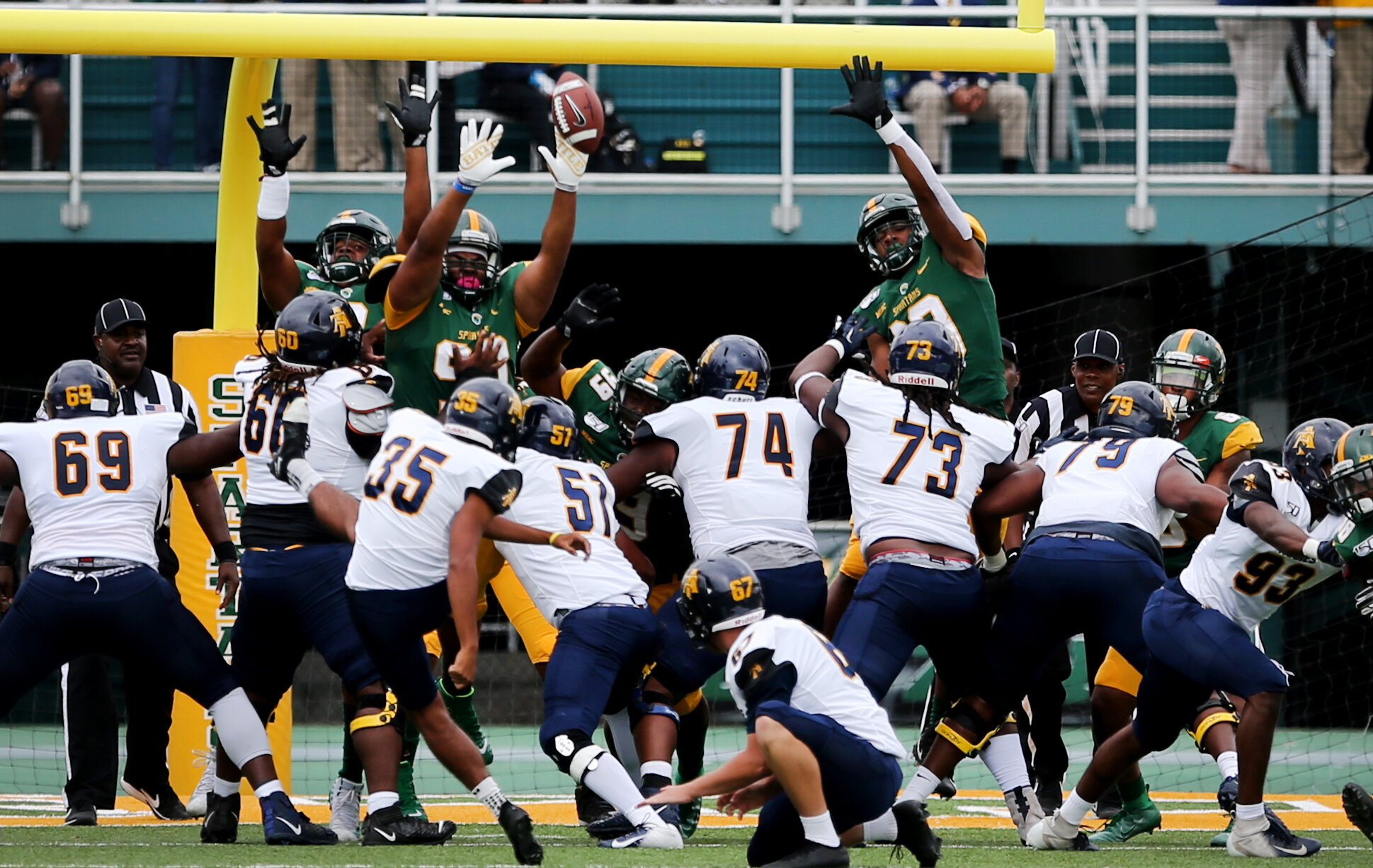 The Norfolk State defense blocks an extra-point attempt during the Spartans' 59-18 loss to North Carolina A&T, Saturday, October 5, 2019 at Dick Price Stadium in Norfolk.