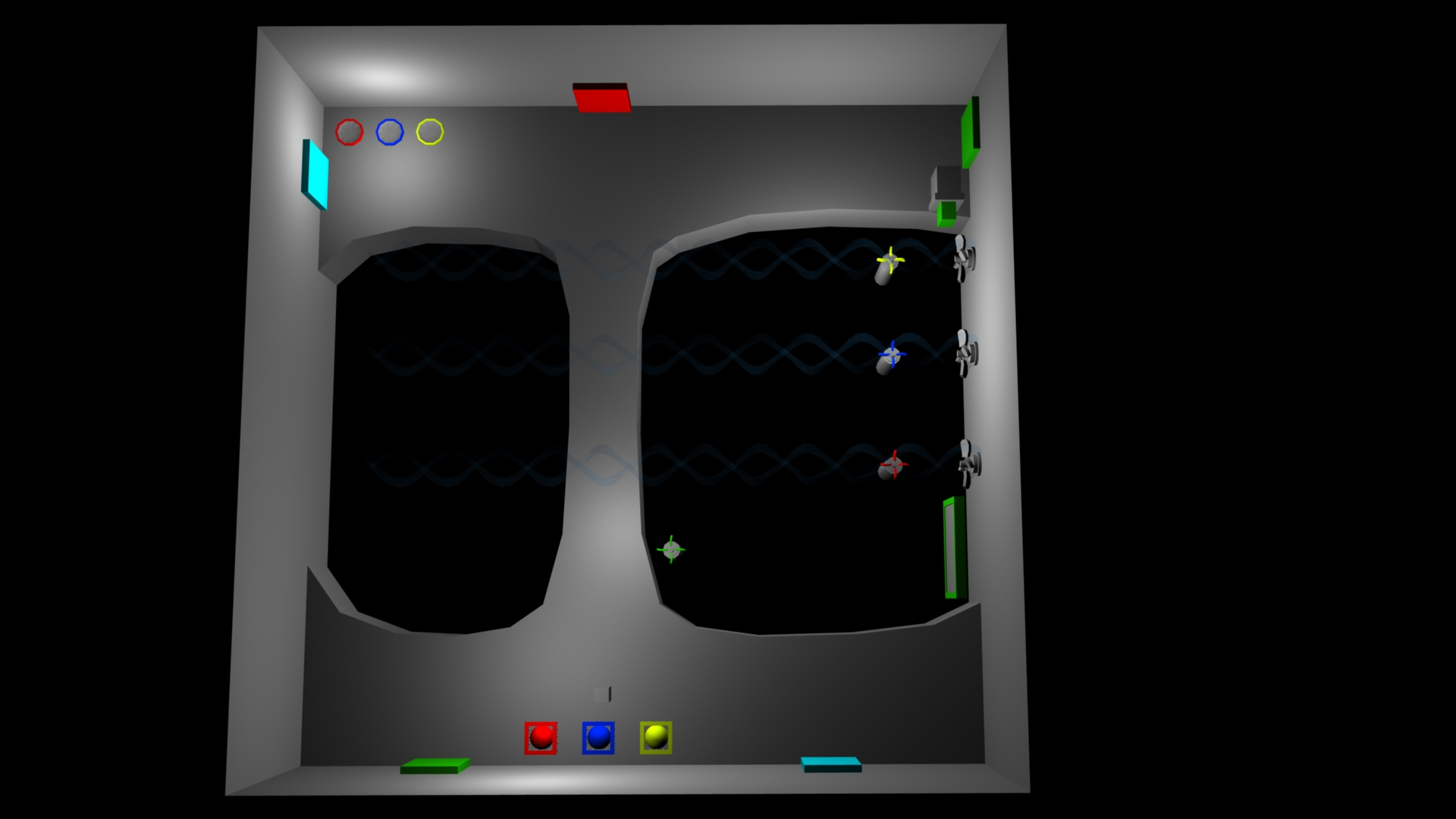 Next I went into a blockout prototype to get the feel of the size and shape of the room as well as demonstrate the mechanics of the puzzles in the room.