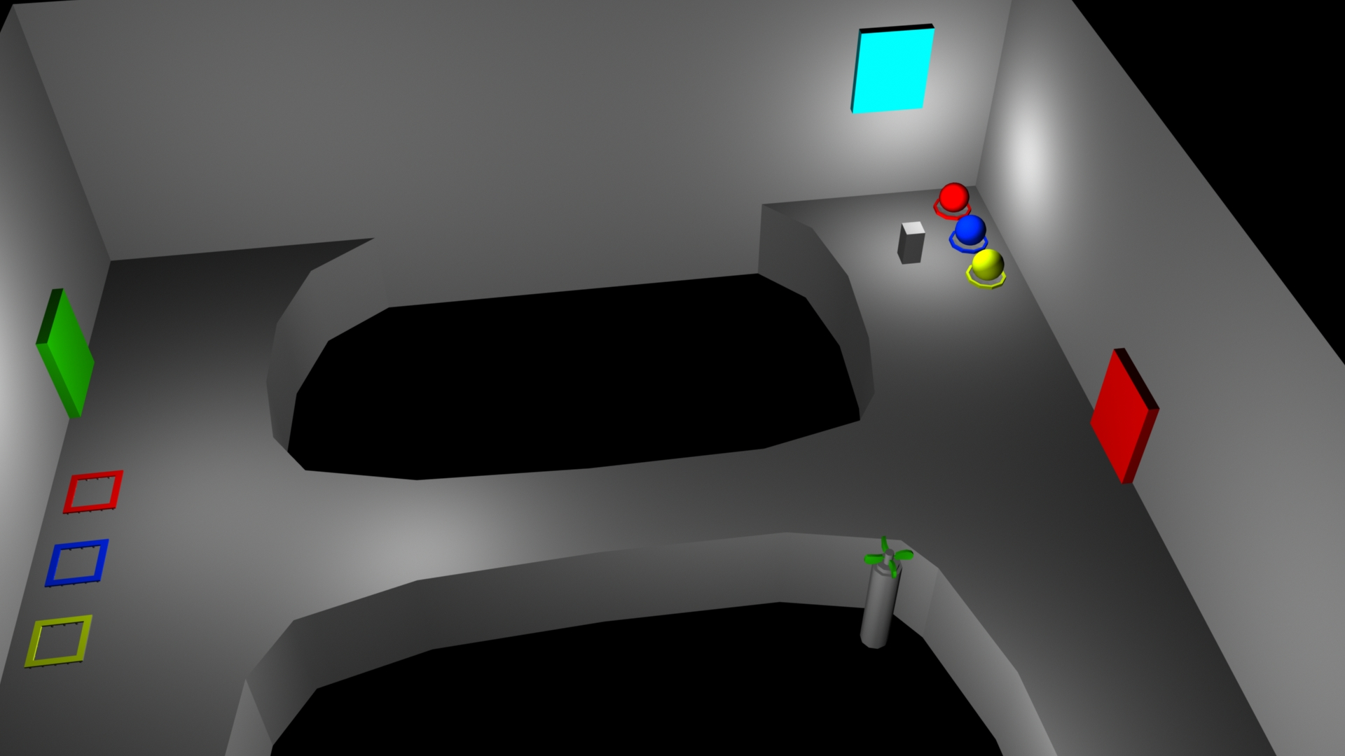 After bringing all 3 balls to their slots, the second door opens, allowing the player to take a different path out of the room. Normally, the red door would be opened by defeating all the enemies in the room with your elementals.
