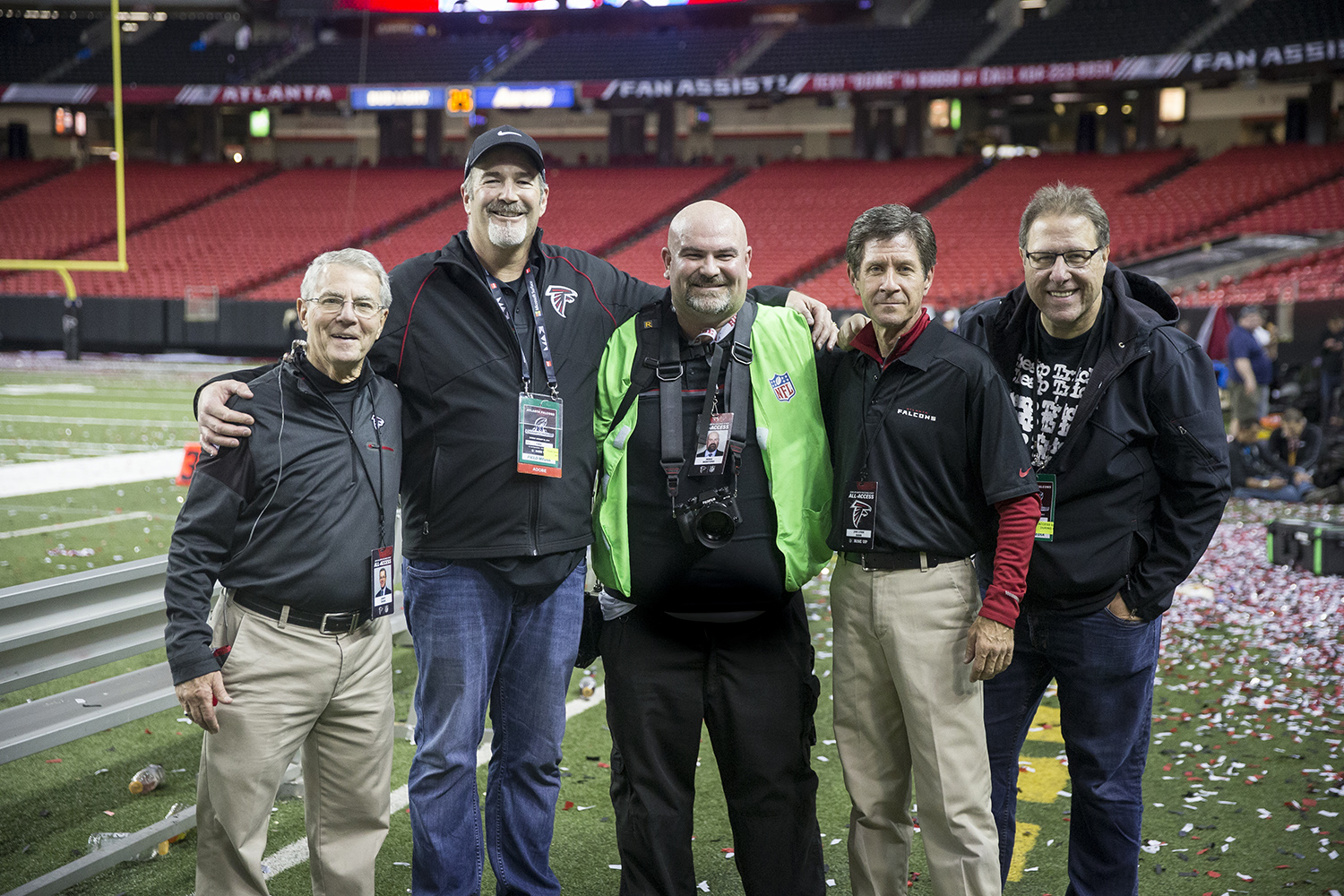 NFC Championship Game: (left to right) Jimmy Cribb, Winston Hendrickson, Mike Benford, Lynn Bass, Scott Kelby