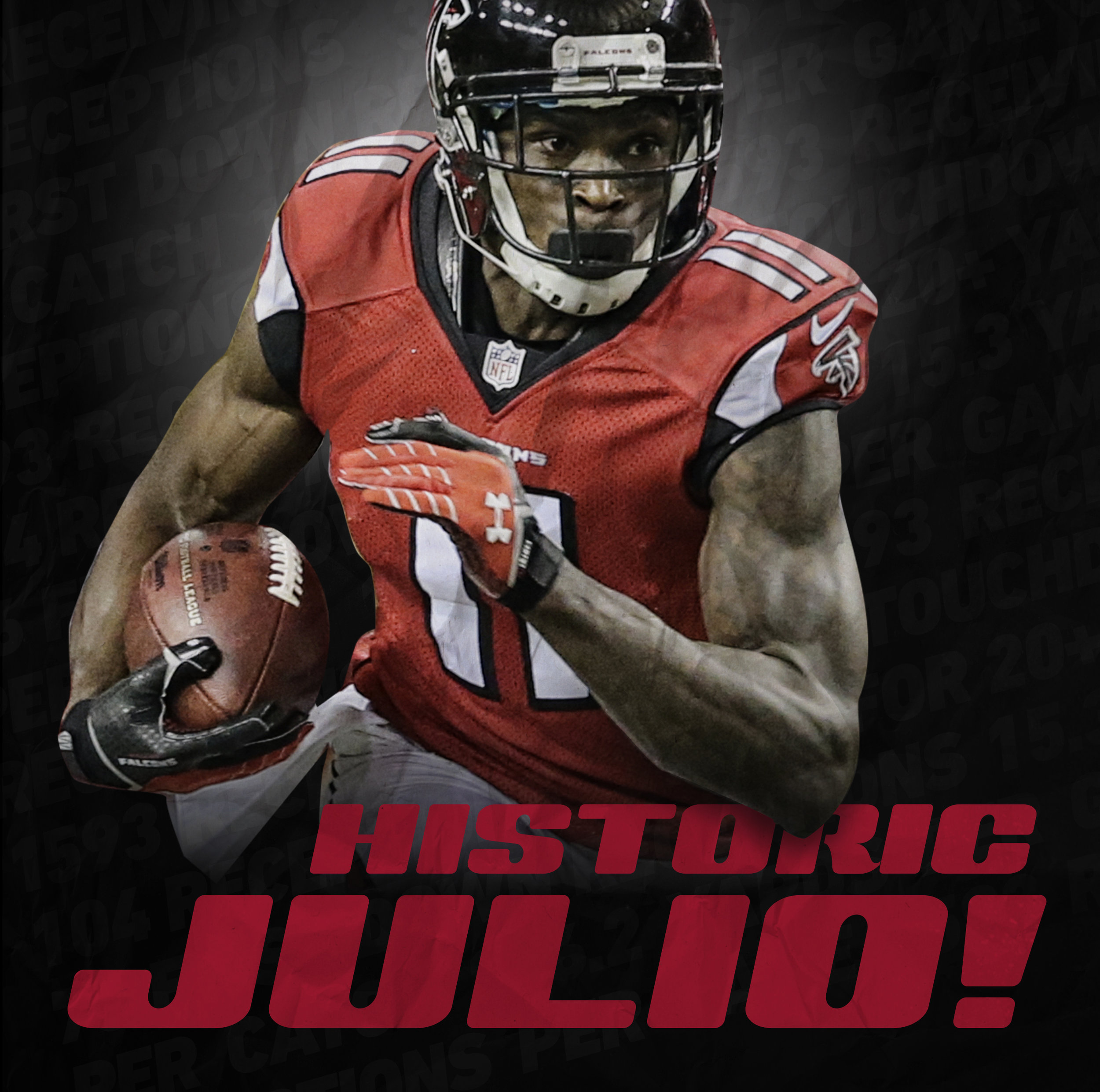 Julio Jones Data Visualization - It was only a matter of time before Julio Jones would rewrite the Falcons record book and 2014 was that year. From his productivity during the year to where he stands in Falcons history, we take a closer look at what made Julios 2014 so special. The challenge was to develop an infographic that highlights Julio Jones historic record-breaking season in a digestible format that can be utilized in both print and digital mediums.