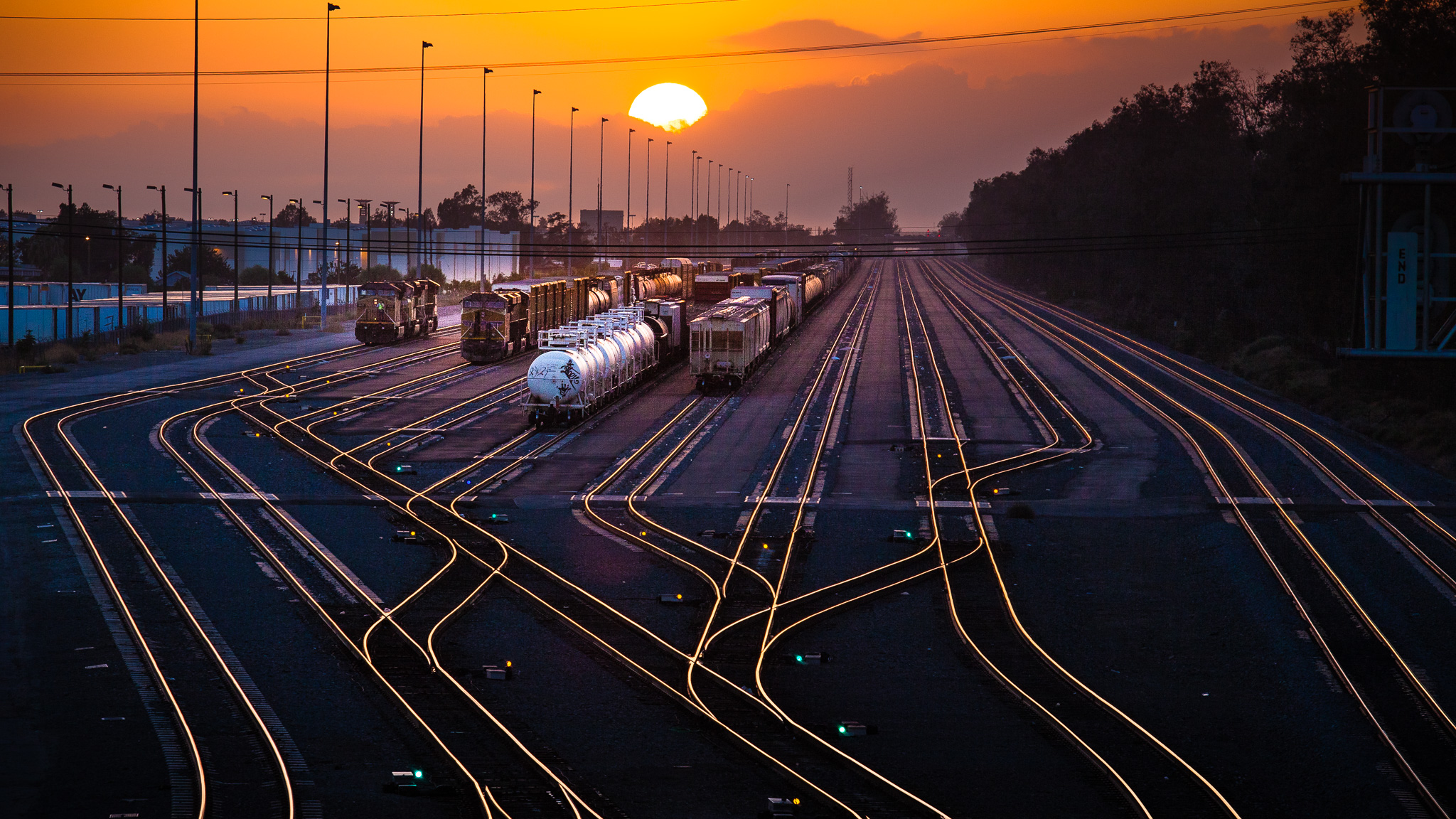Rail Yard At Sunset