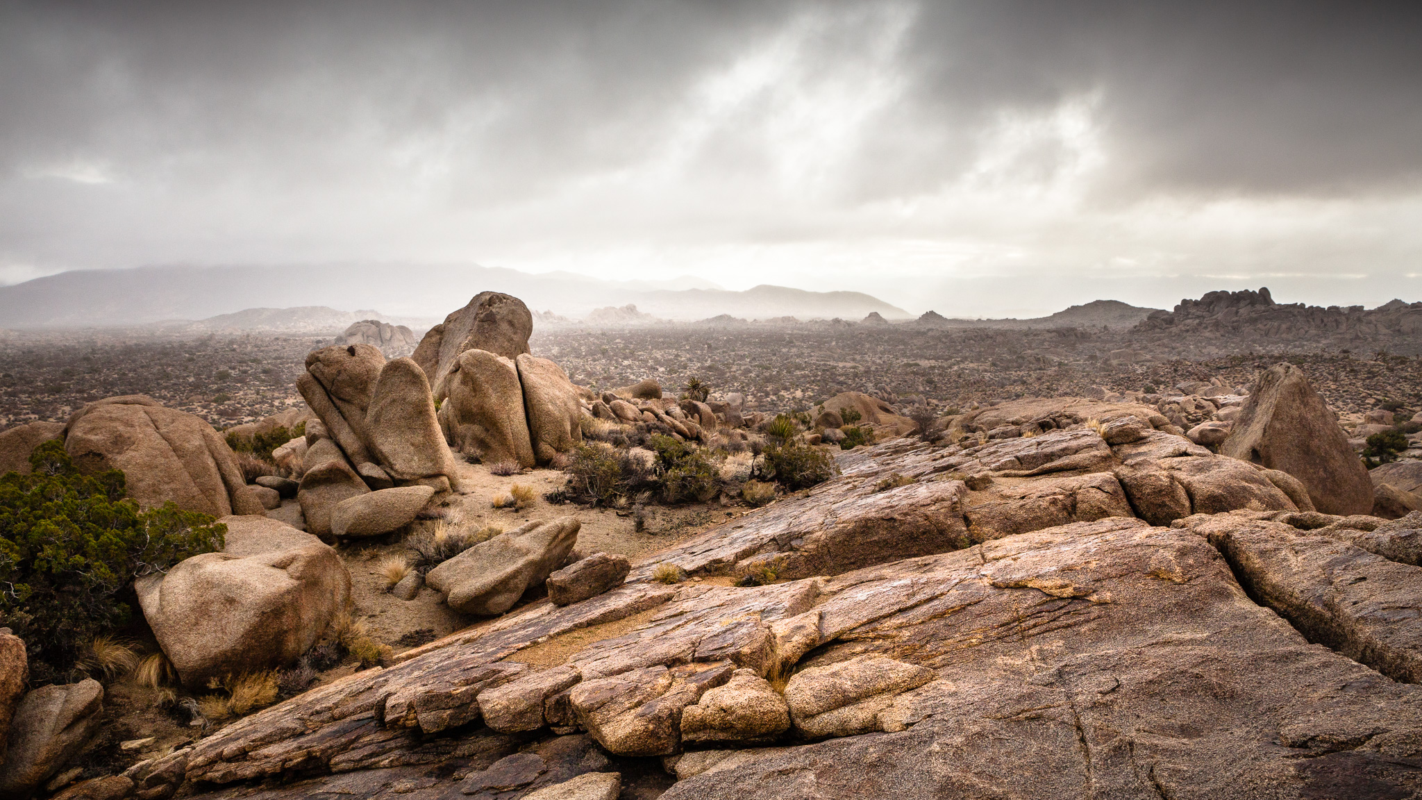 Stormy Weather In A Rocky Joshua Tree National Park Landscape