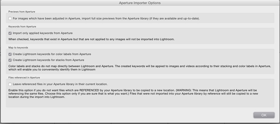 The extra import plug-in options with the default settings of which are checked and unchecked.