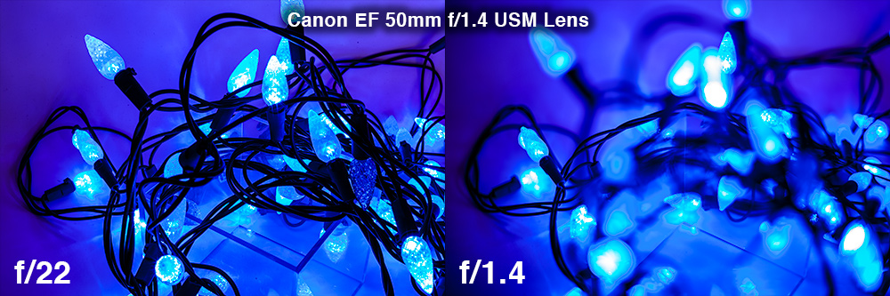 Light sources in dark settings create pronounced bokeh effects in an image when the depth of field is shallow (low f-stop numbers) or the light sources are far from the focal point.