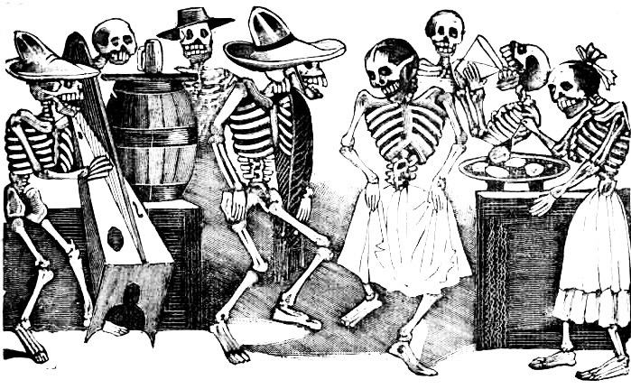 An engraving of partying  calacas  by José Guadalupe Posada