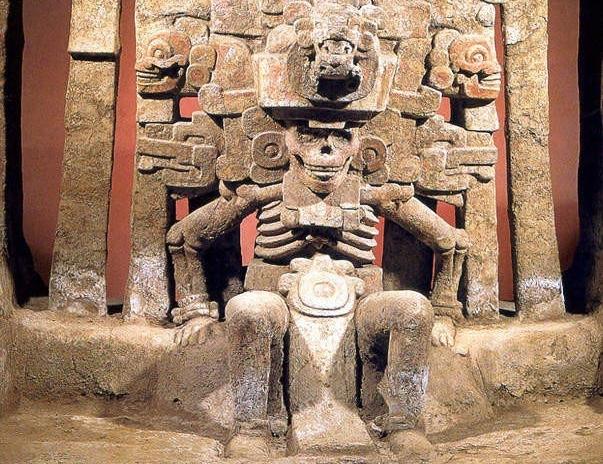 """The Lady of the Dead in Mictlan, the Aztec underworld, Mictlancihuatl (Mikt-lan-see-watl). Image from  """"Mictlán: el lugar de los muertos""""  by Luz Espinosa."""