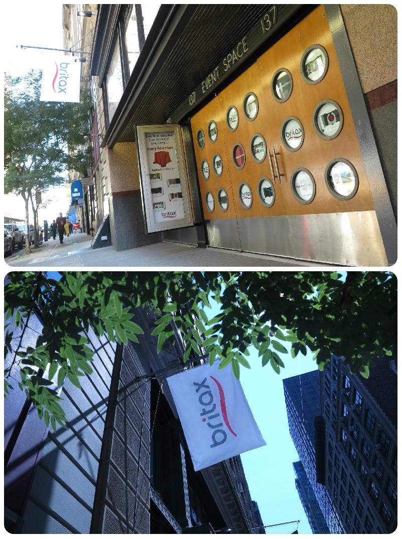 Britax Press Event at HELEN MILLS. Branding and Signage: Flag, porthole windows, and sidewalk display showcase