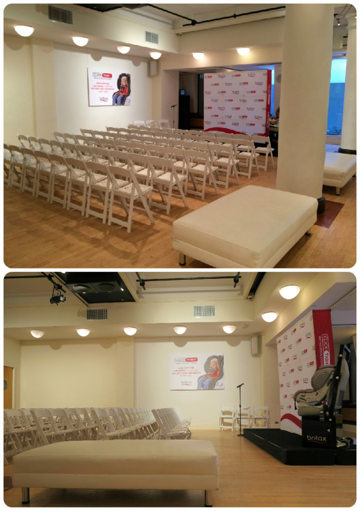 Britax Press Event at HELEN MILLS. Branding and Signage: Step and repeat, wall hanging, product display on raised platform