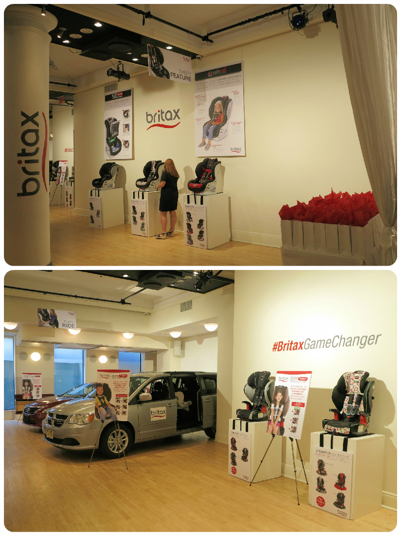 Britax Press Event at HELEN MILLS. Branding and Signage: Wall and ceiling hangings, easel displays, wall cling