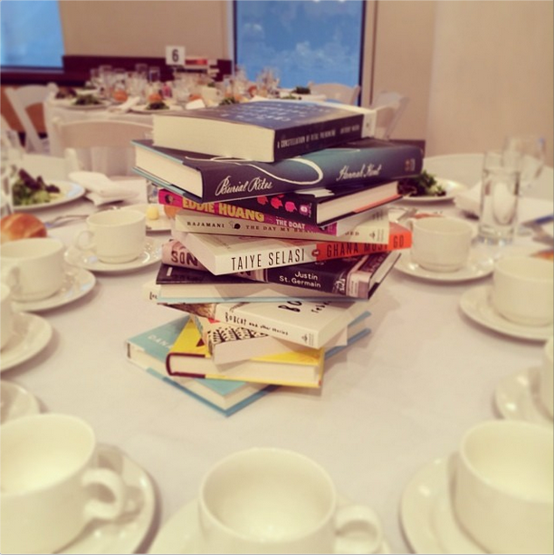stack of books as a centerpiece