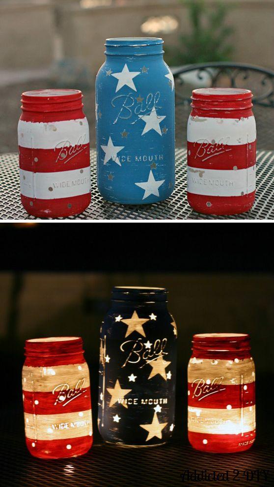 Jars repurposed into decorative party lighting