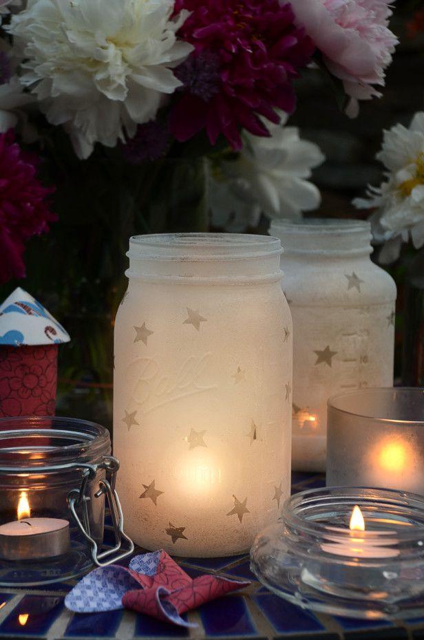 Repurposed jar lighting with candles