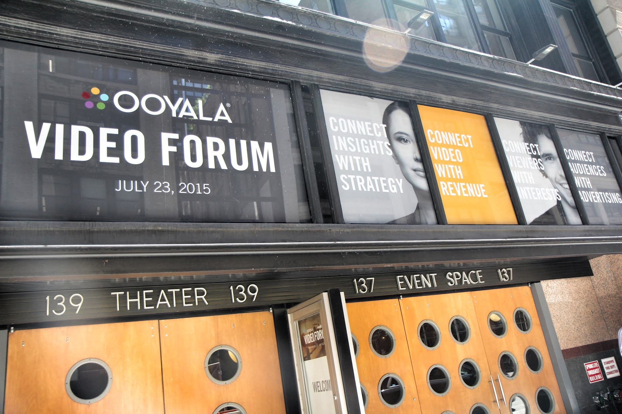 Ooyala's signage greeted visitors as they arrived for presentations in the HELEN MILLS Event Space.