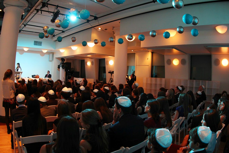 Sophia's Bat Mitzvah at HELEN MILLS - Guests listened through the ceremony, before the party kicked off.