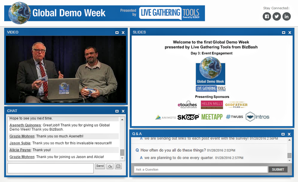 A screenshot of Live Gathering Tools' on-demand content with video, presentations, and comments from attendees.