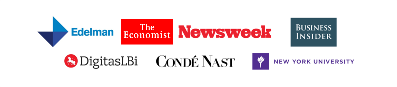 Client logos including The Economist Newsweek and Conde Nast